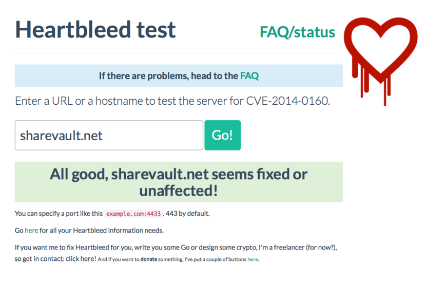 ShareVault not vulnerable to heartbleed bug